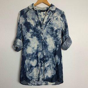 New York & Company Bleach Tie Dye Button Up Blouse